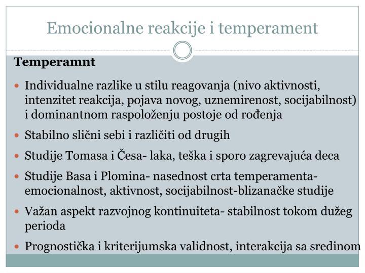 Emocionalne reakcije i temperament