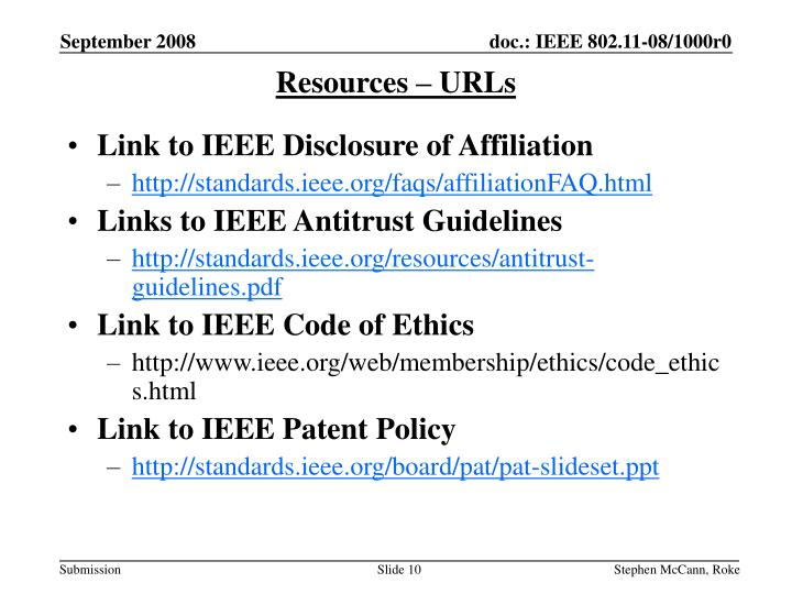 Resources – URLs