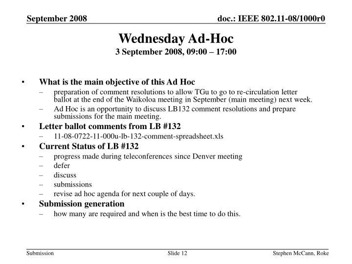 Wednesday Ad-Hoc