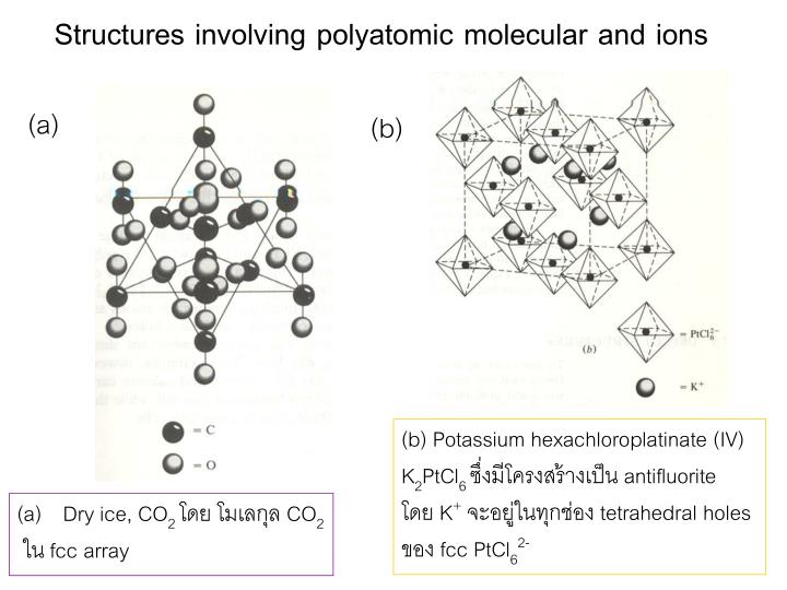 Structures involving polyatomic molecular and ions