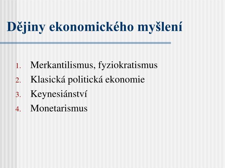 Dějiny ekonomického myšlení