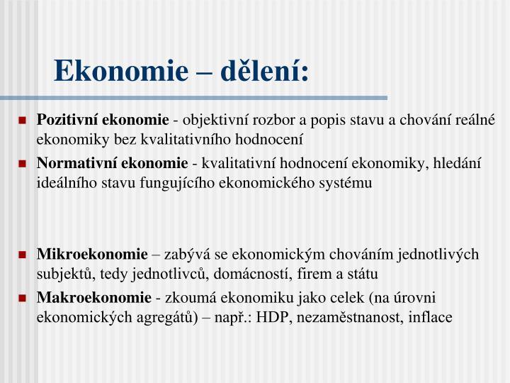 Ekonomie – dělení: