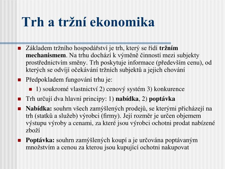 Trh a tržní ekonomika