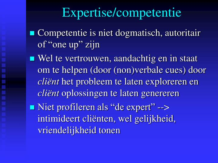 Expertise/competentie