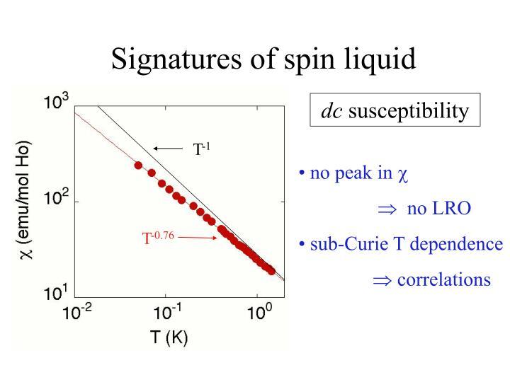 Signatures of spin liquid