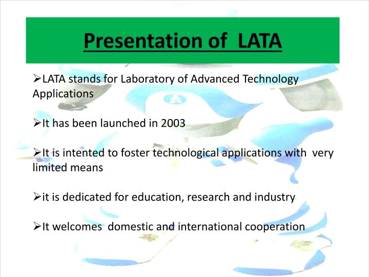 Presentation of lata