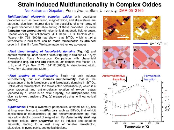 Strain Induced Multifunctionality in Complex Oxides