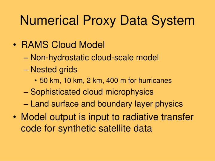 Numerical Proxy Data System