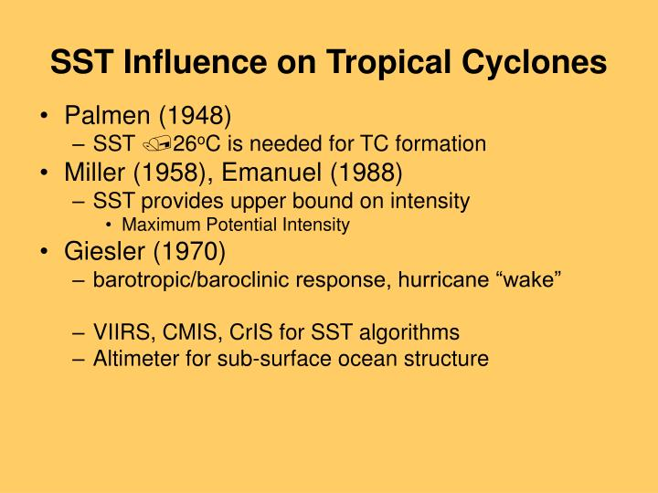 SST Influence on Tropical Cyclones