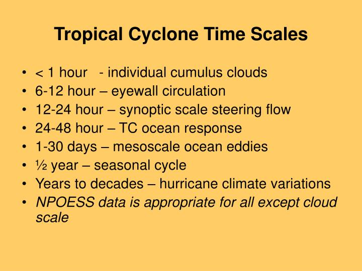 Tropical cyclone time scales