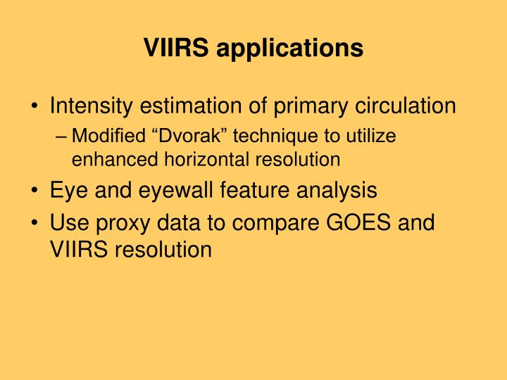 VIIRS applications