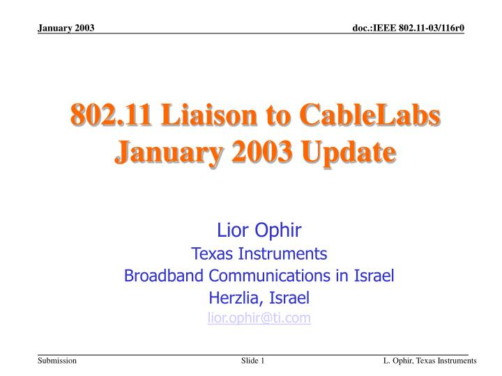 802 11 liaison to cablelabs january 2003 update