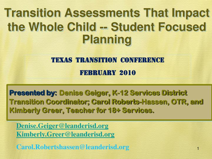 transition assessments that impact the whole child student focused planning n.