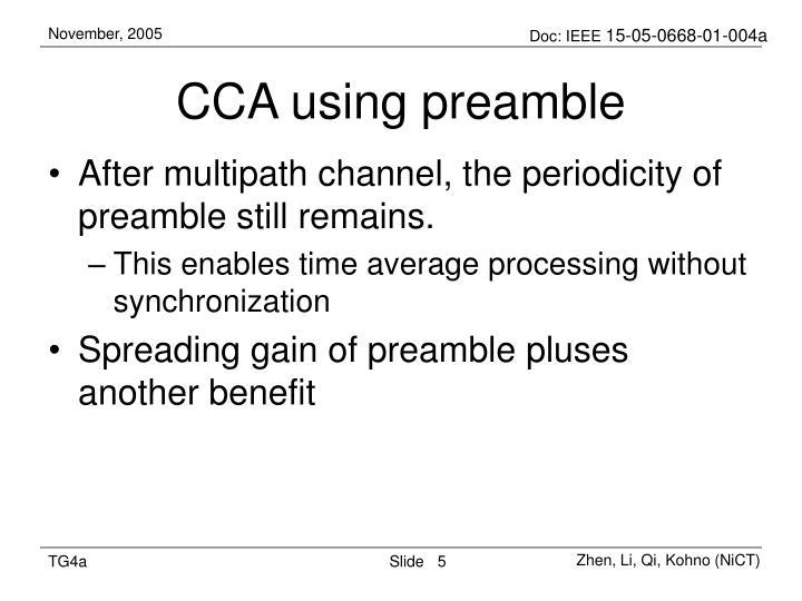 CCA using preamble