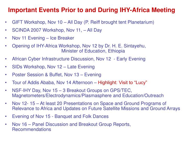 Important Events Prior to and During IHY-Africa Meeting