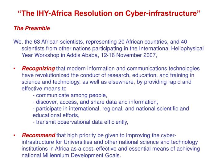 """The IHY-Africa Resolution on Cyber-infrastructure"""