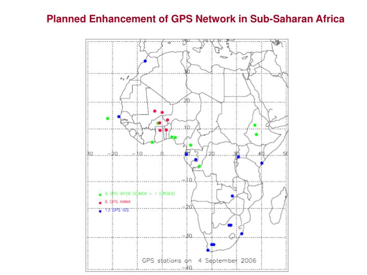 Planned Enhancement of GPS Network in Sub-Saharan Africa