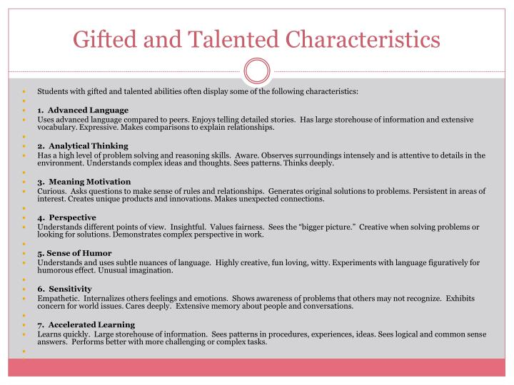 Gifted and Talented Characteristics