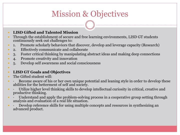 Mission & Objectives