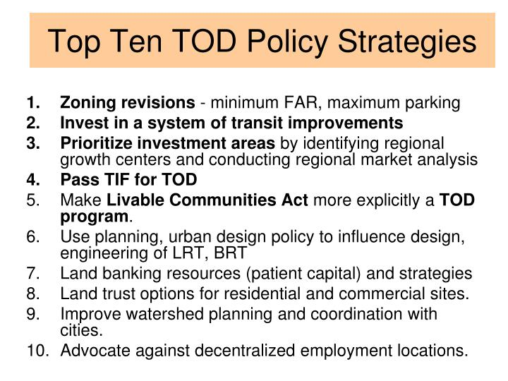 Top Ten TOD Policy Strategies