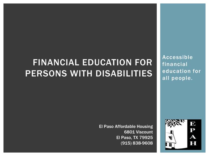financial education for persons with disabilities n.