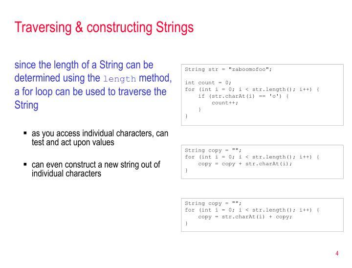 Traversing & constructing Strings