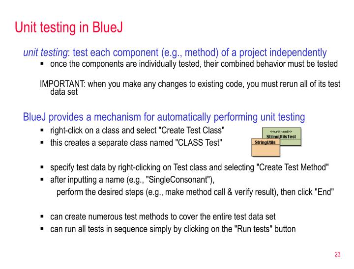 Unit testing in BlueJ