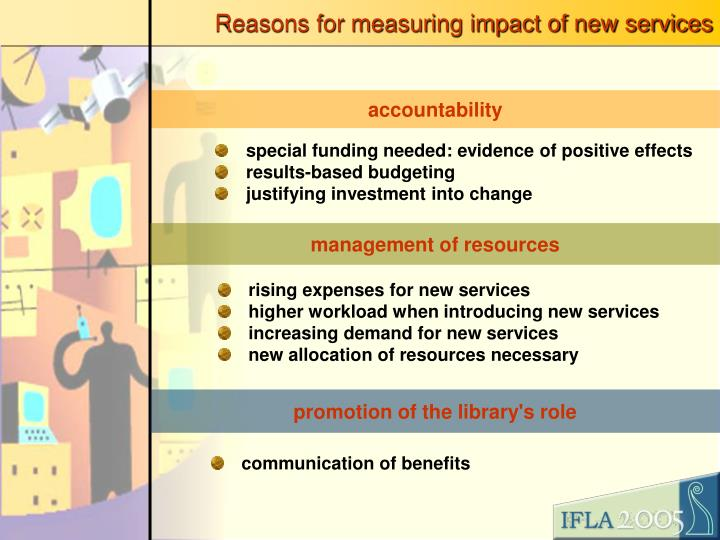 Reasons for measuring impact of new services