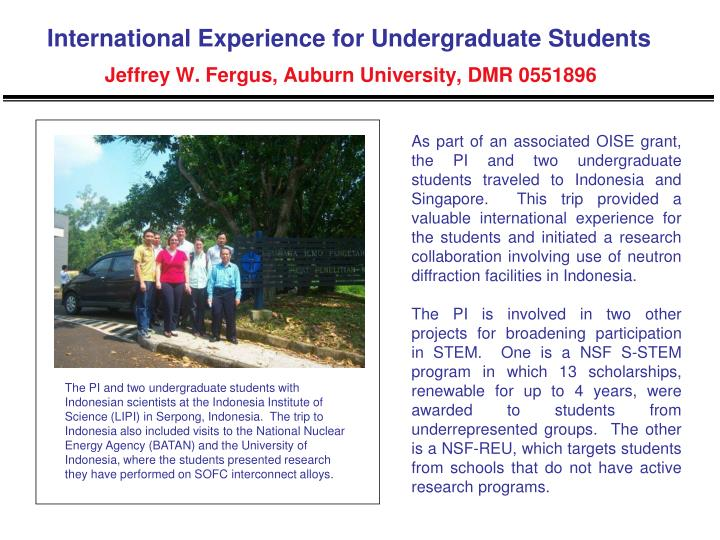 International Experience for Undergraduate Students