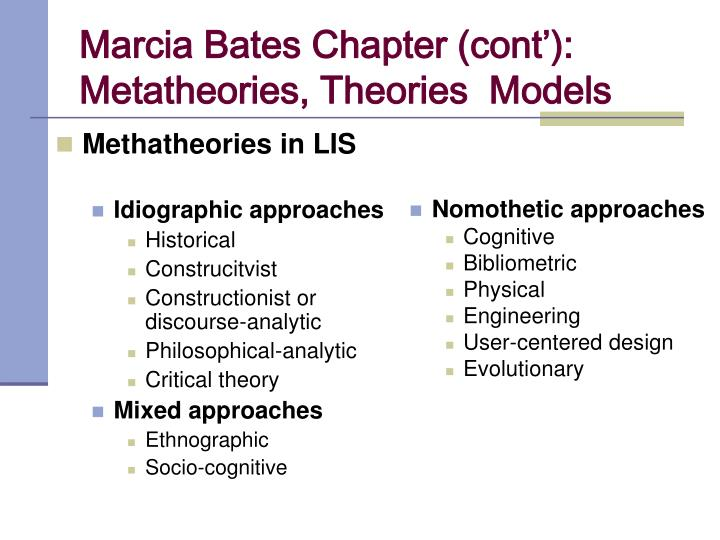 Marcia Bates Chapter (cont'):