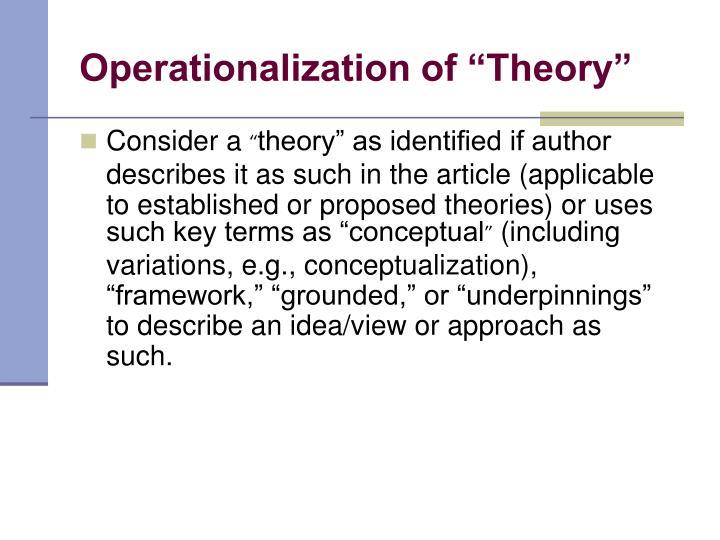 """Operationalization of """"Theory"""""""