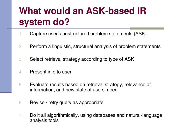 What would an ASK-based IR system do?
