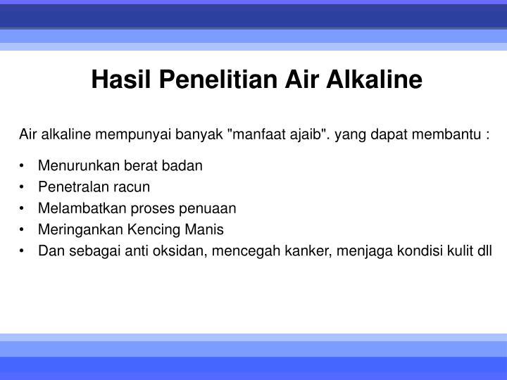Hasil Penelitian Air Alkaline