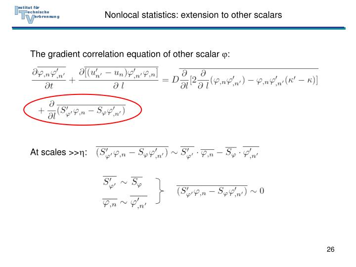 Nonlocal statistics: extension to other scalars