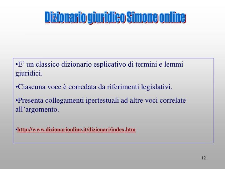 Dizionario giuridico Simone online