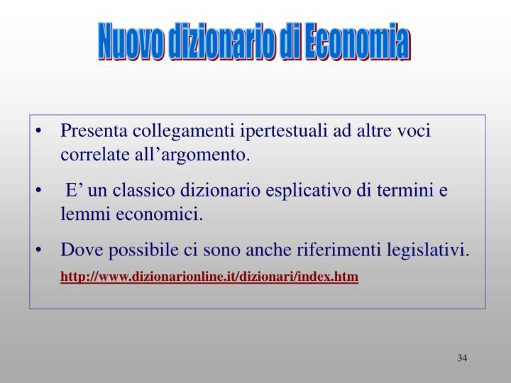 Nuovo dizionario di Economia