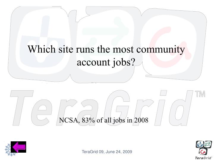 Which site runs the most community account jobs?