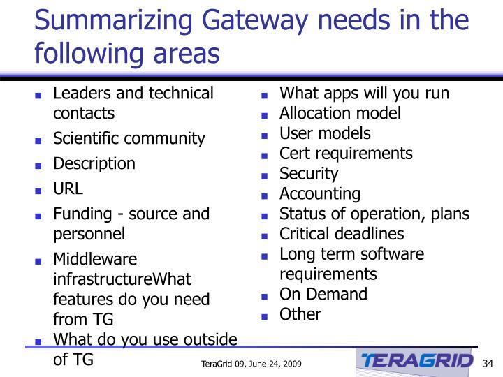 Summarizing Gateway needs in the following areas