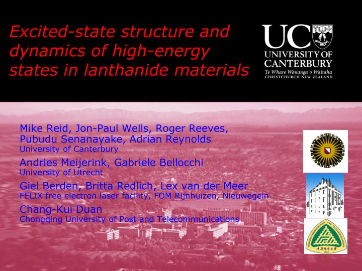 Excited state structure and dynamics of high energy states in lanthanide materials