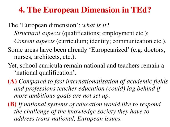 4. The European Dimension in TEd