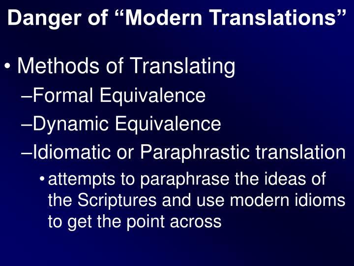 """Danger of """"Modern Translations"""""""