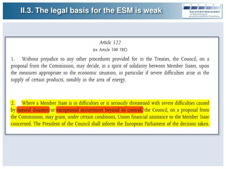 II.3. The legal basis for the ESM is weak