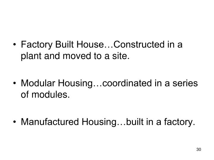 Factory Built House…Constructed in a plant and moved to a site.