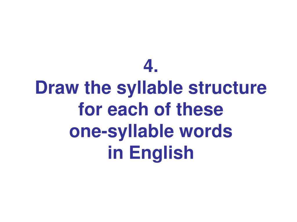 ppt 4 draw the syllable structure for each of these one syllable