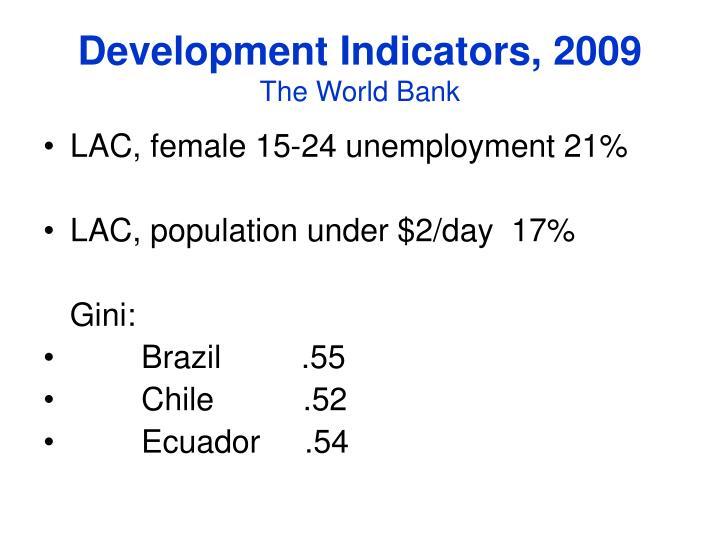 Development indicators 2009 the world bank