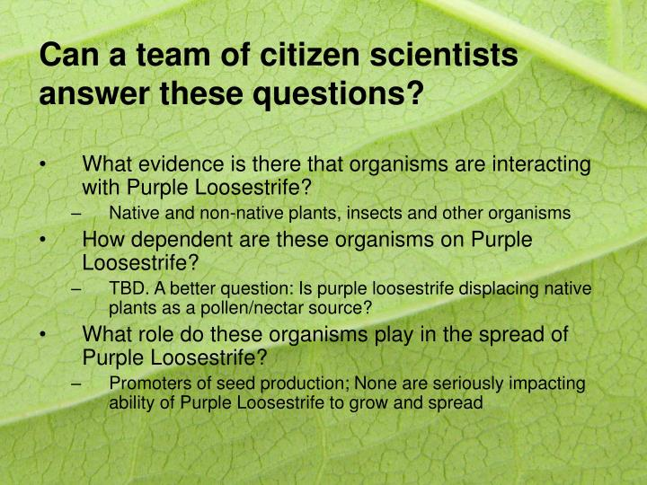 Can a team of citizen scientists answer these questions?