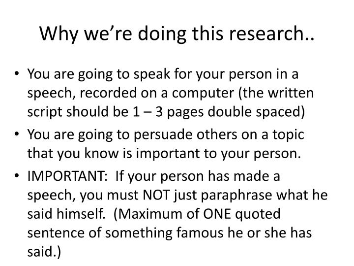 Why we re doing this research