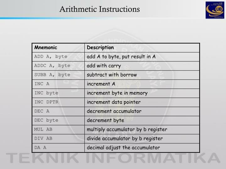 Arithmetic instructions1