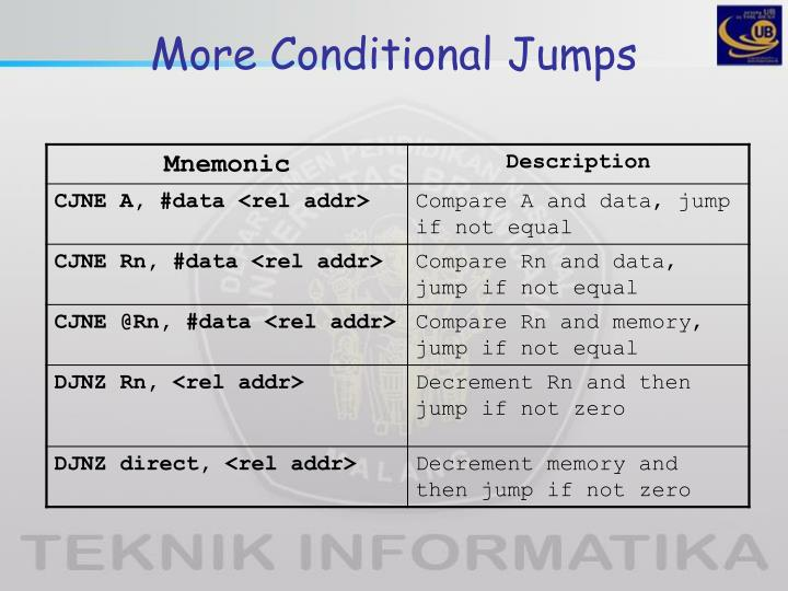 More Conditional Jumps