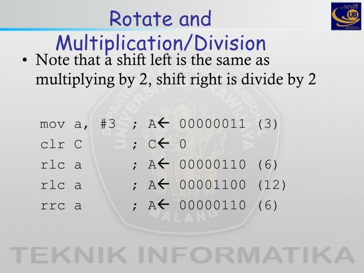 Rotate and Multiplication/Division